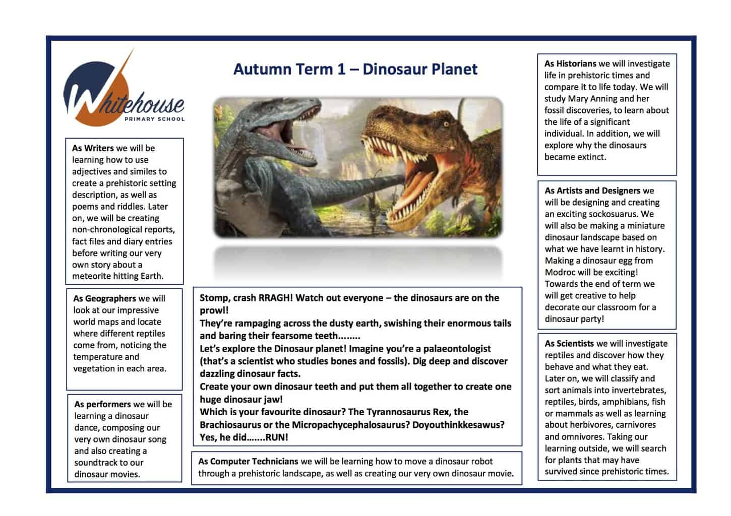 Year 1 Dinosaur Planet Overview 2018-19